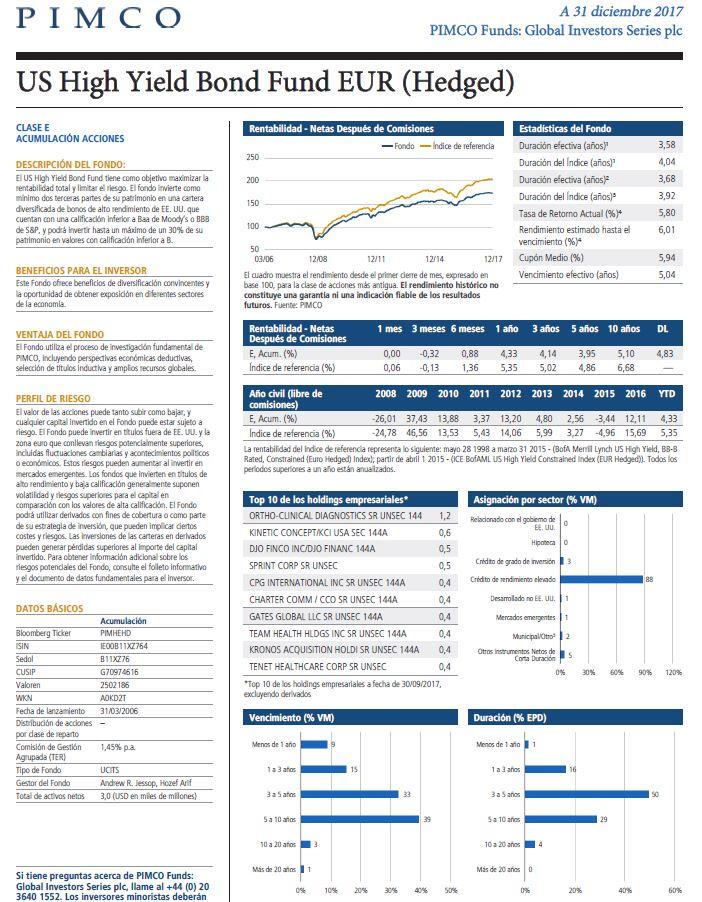 mejores fondos renta fija 2018, fondo Pimco Us High Yield