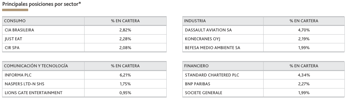 bestinver internacional distribucion sectores