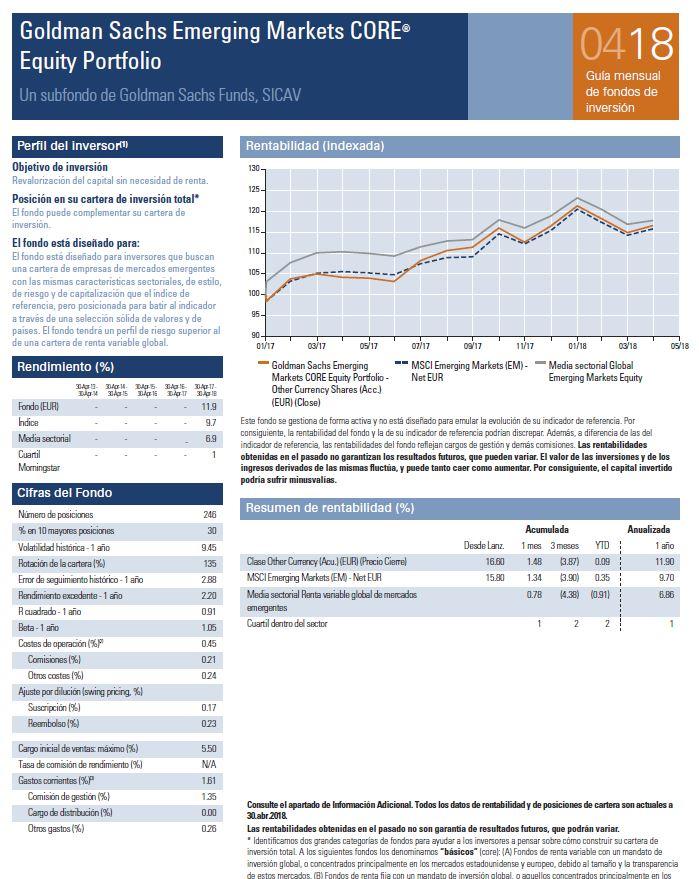 mejores fondos emergentes goldman sachs emerging markets core equity portfolio