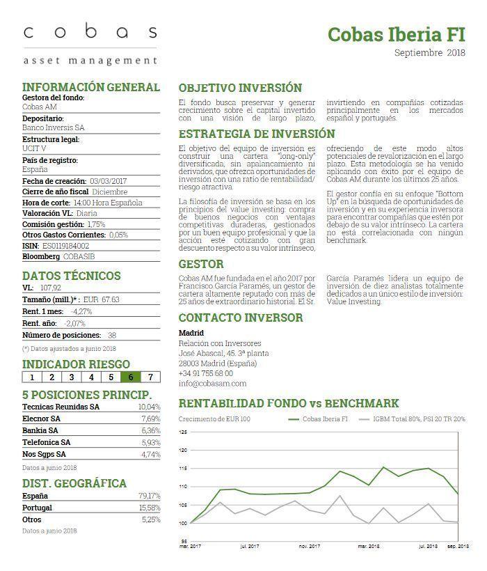 mejores fondos renta variable española, cobas iberia