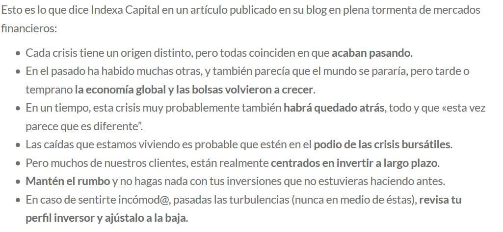indexa capital y el coronavirus