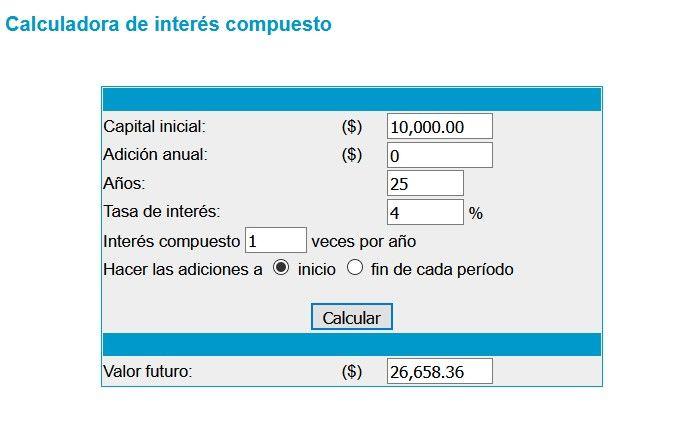 calculadora de interes compuesto,