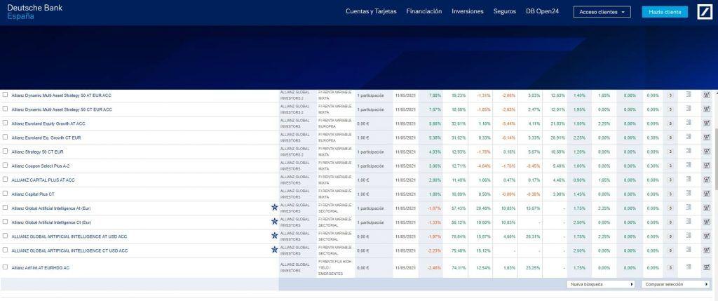 Buscador de fondos Deutsche Bank