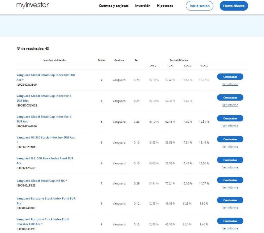 fondos indexados myinvestor, myinvestor buscador fondos, fondos vanguard myinvestor