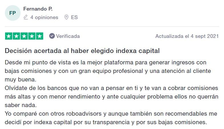 testimonios clientes indexa capital, opiniones 2021 sobre indexa capital